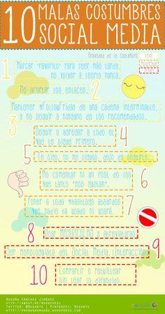 10 malas costumbres en Social Media #infografia #infographic #socialmedia