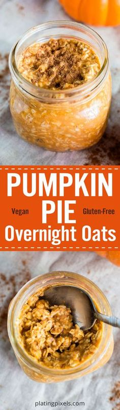 This Vegan Pumpkin Pie Overnight Oats recipe is a healthy Thanksgiving breakfast or dessert. Simply made with pumpkin puree, pumpkin pie spice, almond milk, oats and maple syrup. Vegan, gluten free and clean eating ingredients. - platingpixels.com