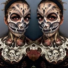 Twin Skull | 10 Spooky Skeleton Makeup Ideas You Should Wear This Halloween