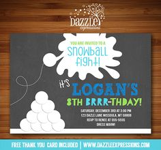 Printable Chalkboard Snowball Fight Birthday Invitation | Snow Ball Party | Snow Day | Sledding | Christmas Birthday | Snow and Hot Chocolate Party | Kid or Teen Winter Birthday Invite | Christmas Birthday | Winter Brrr-thday | Kids Winter Party Idea | DIY | Digital File | Matching Printable Party Package Decorations Available!  Banner | Cupcake Toppers | Favor Tag | Food and Drink Labels | Signs |  Candy Bar Wrapper | www.dazzleexpressions.com