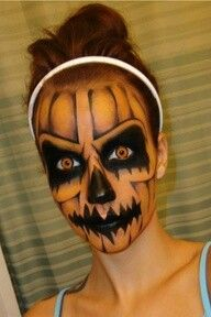 Halloween makeup! :) Looks like a evil pumpkin...lol