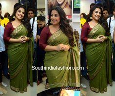 Vidya Balan's Saree Look – South India Fashion Kota Silk Saree, Chiffon Saree, Saree Dress, Green Saree, Pink Saree, Kajol Saree, Vidya Balan Hot, Banaras Sarees, Elegant Saree