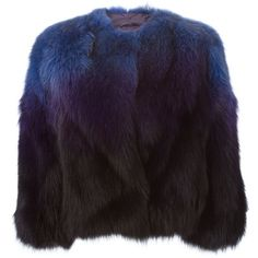 P.A.R.O.S.H. fox fur degradé jacket ($1,795) ❤ liked on Polyvore featuring outerwear, jackets, coats, blue, fox fur jacket, blue fox fur jacket, purple jacket and blue jackets