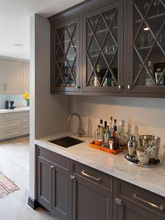 Artistic Designs for Living - kitchens - hardwood floors, light hardwood floors, bar area, built-in bar area, butlers pantry, bar area in ki...
