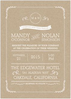 Simple Classic Brown And White Wording Wedding Invitation Design