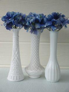 3 Milk Glass Bud Vases Mixed Patterns / Wedding by shellyscottage