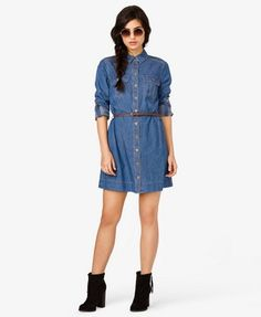 Denim Shirt Dress w/ Belt | FOREVER 21 - 2021839323/ $24.80    Another cute outfit idea for Summer
