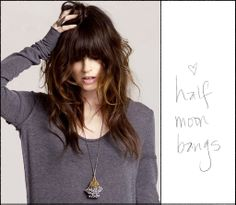 heavy dark fringe, and ombre coloured waves.