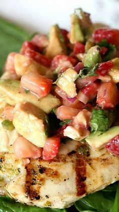 Grilled Lime Chicken with Strawberry Avocado Salsa Recipe ~ light with loads of flavor, perfect over a bed of baby spinach!