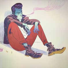 "Artsy cool blue skinned reference for Telekinecto - ✖️Di Nguyen (@saigonradio) on Instagram: ""RED PANTS BANDIT. #ink #drawing #sketch #doodle #artrage #microsoftsurface"""