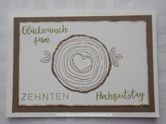 Hölzerne Hochzeit, Karte zum 10. Hochzeitstag, Stempelset Forever & Always von Stampin'Up