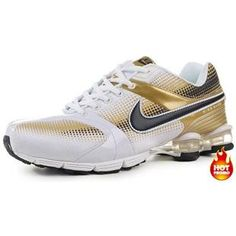 ... http://www.asneakers4u.com Mens Nike Shox R4 White Gold Black ...