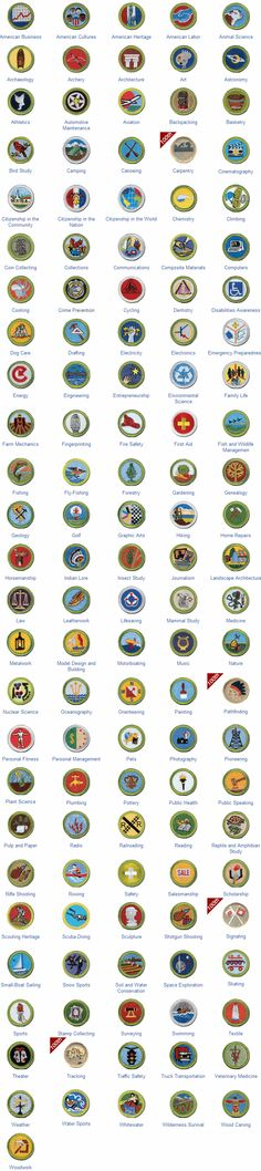 Punchy image in printable list of merit badges