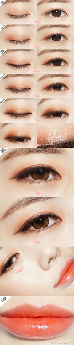 asian make-up using NEO Extra Size Dali Brown circle lenses from EyeCandy's…