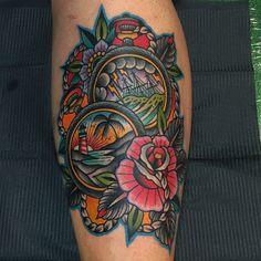 Love all the bright traditional work by Samuele Briganti #tattoo #tattoos #tattooed #inked #tats #ink #tatoo #tat #tattooart #tattooartwork #tattoodesign #tattooartist