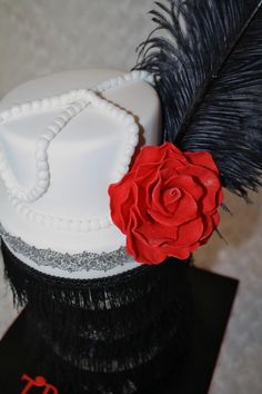 Sample of a women's pillbox hat. Feathers were a trend back then during the jazz age.