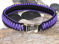 Purple & Black Paracord Dog Collar