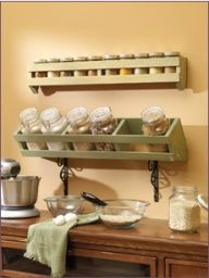 Spice storage rack    Under The Table and Dreaming: 30 DIY Storage Solutions to Keep the Kitchen Organized Saturday Inspiration  Ideas
