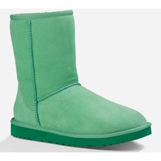 UGG Classic Short Womens Boots ($155) ❤ liked on Polyvore featuring shoes, boots, ankle booties, green, sheepskin boots, ugg australia, sheepskin booties, short ankle booties and bootie boots