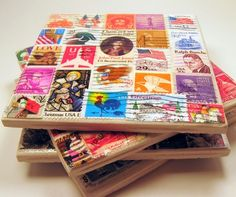 Ceramic tile coasters made with stamps. This would cool to do with my stamp collection! Old Stamps, Vintage Stamps, Tile Crafts, Paper Crafts, Art Postal, Postage Stamp Quilt, How To Make Coasters, Tile Coasters, Drink Coasters