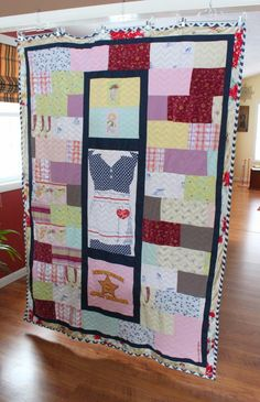 Memory blanket using pajamas to preserve the memory of a mother and grandmother.