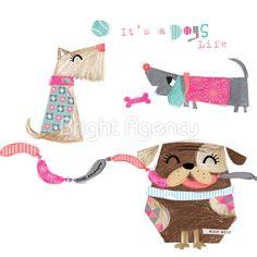 lola design illustration. Cute applique inspiration. Dogs life