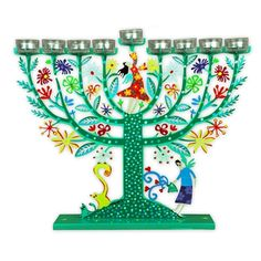 Jewish Gift - Handmade in Israel, The Hanukkah menorah is hand-painted by Tzuki designs. comes from our exclusive collection of Tzuki's modern Judaica art. The Hanukkah Menorah is handmade by Tzuki  from laser-cut metal.