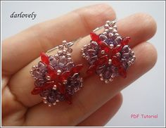 Red Purple Superduo Flower Earrings