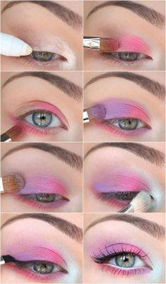 Eye Makeup Steps, Eye Makeup Art, Pink Makeup, Cute Makeup, Pretty Makeup, Eyeshadow Makeup, Makeup Tips, Makeup Ideas, Makeup Tutorials