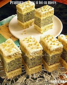"""Mac and sheet cake with honey"" Romanian Desserts, Russian Desserts, Romanian Food, Sweet Recipes, Cake Recipes, Dessert Recipes, Food Cakes, Cupcake Cakes, Layered Desserts"