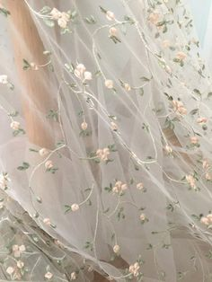 Flroal embroidery tulle lace fabric with light green pink leaf pattern, tulle bridal baby dress lace fabric - Stickerei Ideen White Tulle, Tulle Lace, Lace Fabric, Dress Lace, Bridal Fabric, Pink Tulle, Fabric Roses, Dress Prom, Floral Fabric