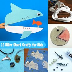 13 killer shark crafts for kids - these are perfect ideas for Shark Week!