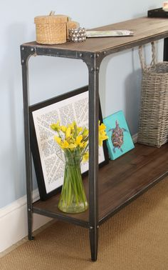 Steel Magnolias console table in Pewter