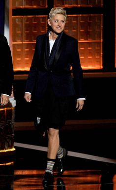 Ellen is the only person living or dead who can pull off the business-on-the-top, casual-on-the-bottom look.