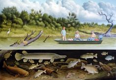 William  Montgomery, Fish Story 2, Nieces River, 2015, oil on canvas, 40x60 inches