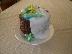 Basket of baby stuff shower cake