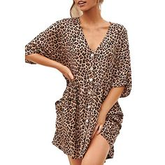 c957ef89c3b02 Fashion Casual Women Leopard Loose Mini Dress V Neck Lady Party Beach Summer  Hallmark Dress