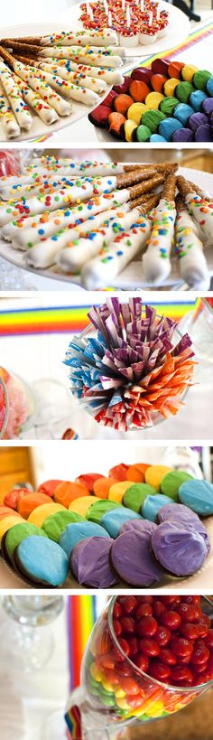Bright and pretty rainbow theme birthday party!