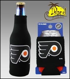 """SET OF 2 PHILADELPHIA FLYERS CAN & BOTTLE KOOZIE COOLER by Kolder. $8.99. PRODUCT DESCRIPTION: * This lsiting is for (1) Bottle Suit Koozie & (1) Can Kaddy Koozie *MSRP $13.99 for both! Bottle Suit TM - Made from 3 mm neoprene """"wetsuit"""" rubber, Kolder's Bottle Suit keeps your drink cold! Features include a full glued-in bottom and easy pull zipper. Insulates 12-ounce bottles. Kolder Kaddy TM - Kolder's collapsible can insulator is made from 3 mm neoprene """"wetsui..."""