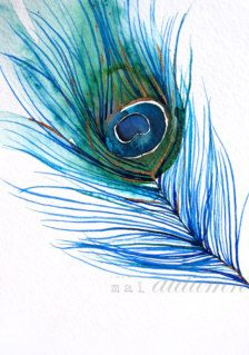 Peacock Feather Watercolour in Painting - Etsy Art
