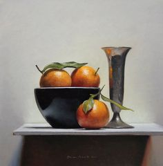 Still life with clementines. great blog: a painting a day