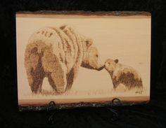 Woodburned Bear and Baby