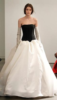 Vera Wang Spring 2014 Wedding Dresses: Sheer back strapless gown with silk satin organza skirt and hand draped accents
