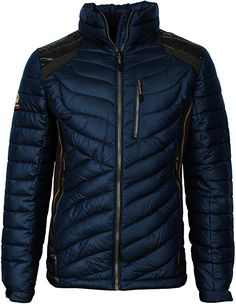 Angel Cola Men's Lightweight Down Weatherproof Puffer Jacket Dark Blue S Mens Blue Leather Jacket, Gray Jacket, Puffer Jackets, Winter Jackets, Sport Wear, Menswear, Mens Fashion, Dark Blue, How To Wear