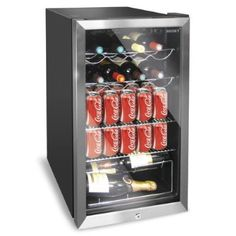 Husky HUS-HM39 Personal Wine Refrigerator/Chiller 150L, Chrome Door Effect, Black
