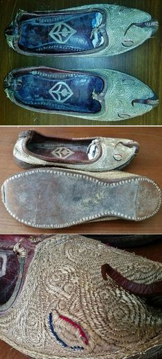 Embroidered bridal shoe-ware.  Late-Ottoman, circa late 19th century.  Probably from the Balkans (Macedonia?).  Leather and silver metallic thread.  (Source: Akkaya Antik, Balikesir).