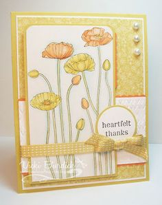 handmade thank-you card from It's a Stamp Thing ... sunny and bright  ... Pleasant Poppies ... orange, yellow and white ... lots of fun details .... beautiful card!! ... Stampin' Up!