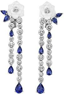 Limelight Garden Party earrings - Piaget Rose in 18K white gold set with 36 brilliant-cut diamonds (6.03 ct), 12 pear-cut blue sapphires (6.68 ct) and white chalcedony.