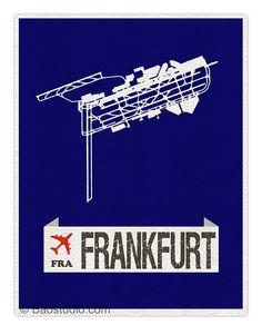 Fly me to Frankfurt FRA - World Traveler Series Germany Frankfurt International Airport Code Runway Map Art Print Poster