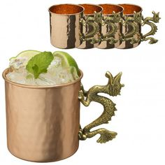 4pk Hammered Copper 20oz Dragon Handle Moscow Mule Mug